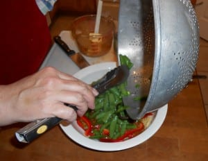 Crunchy Noodle Salad Adding Peas