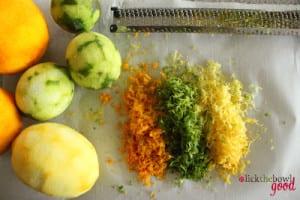 zested citrus fruits, oranges, lemons, limes