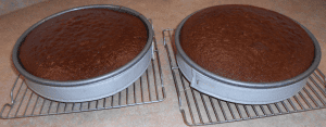 cooling chocolate cake layers