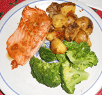 salmon, fried potatoes, broccoli, dinners, cooking