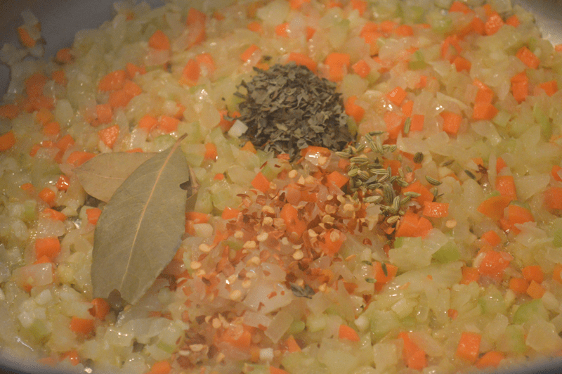 grannie geek, vegetables and spices for marinara