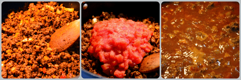 grannie geek, chili cheese dogs, spices, tomatoes, simmer