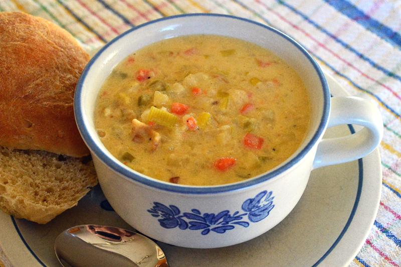 grannie geek, cheesy potato leek soup 1