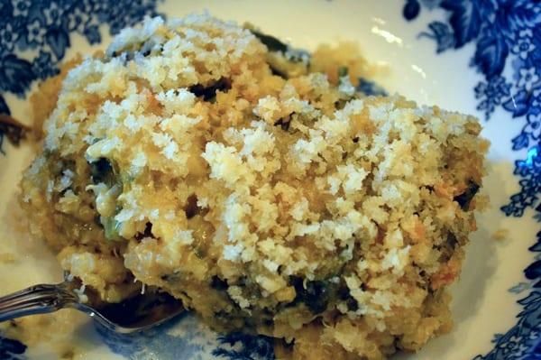 grannie geek, quinoa spinach cheese casserole