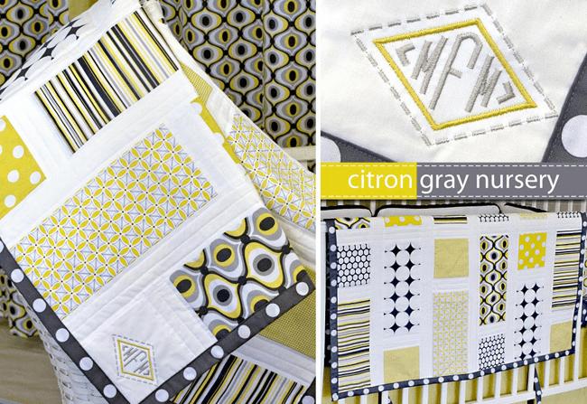grannie geek Sew4Home citron-gray nursery patchwork baby quilt
