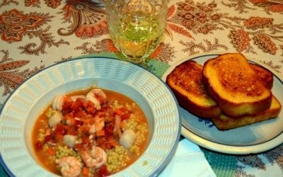 Shrimp & Scallop Stew with Israeli Couscous Pilaf