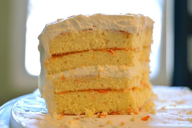 grannie geek creamsicle cake cut