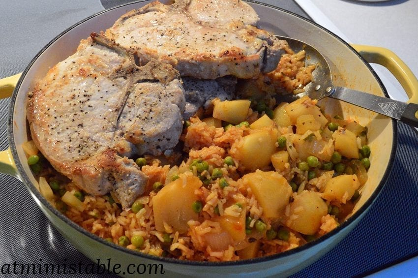 Retro Pork Chops, Spanish Rice with Peas and Potatoes