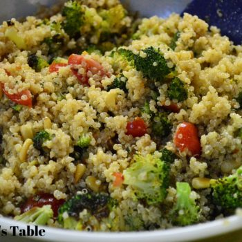 at mimi's table roasted broccoli quinoa and tomato salad