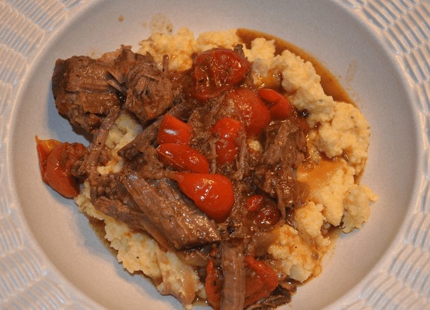 Chuck Roast with Peppers, Tomatoes and Cheese Grits