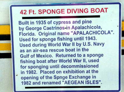 at mimis table tarpon springs plaza sponge diving boat sign