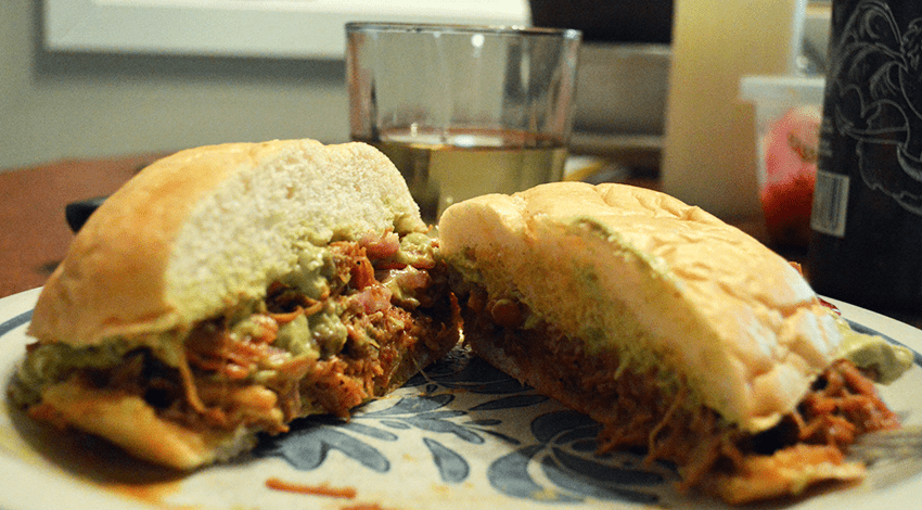 Chicken Pibil Sandwich with Pickled Onions and Avocado Crema