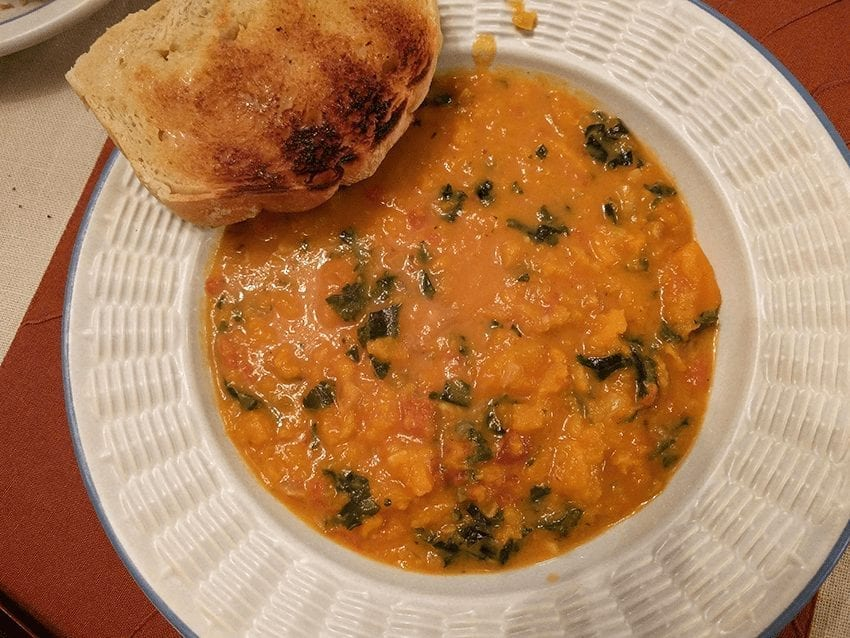 Spicy Sweet Potato Soup with Peanuts & Kale