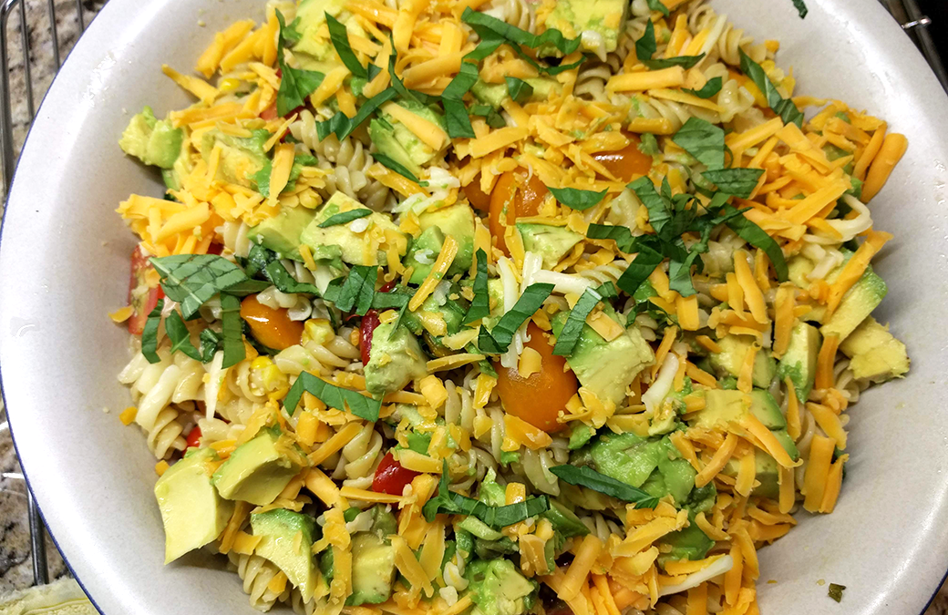 Summertime Tomato, Avocado, Roasted Corn, Basil Pasta Salad