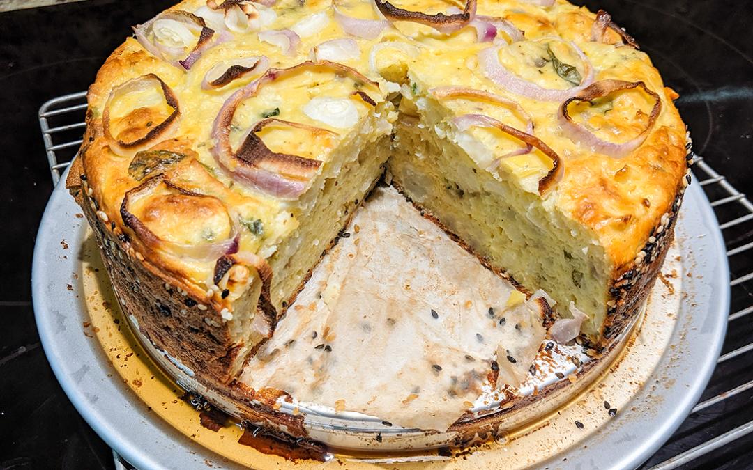 Cauliflower Cake with Pecorino and Basil
