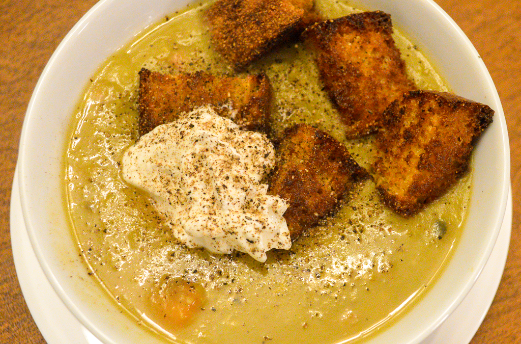 Hearty & Healthy Split Pea Soup with Ham and Cornbread Croutons