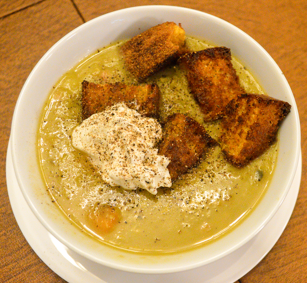 at mimi's table split pea soup with ham and cornbread croutons 14
