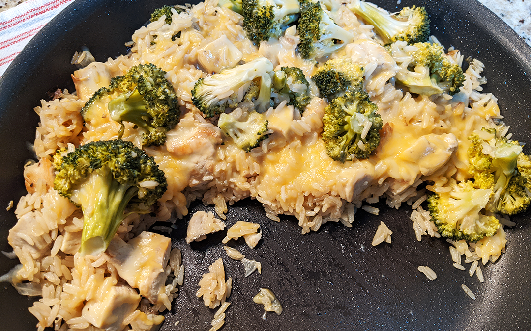 Mimi's One-Skillet Chicken, Rice, Broccoli, and Cheesy Casserole