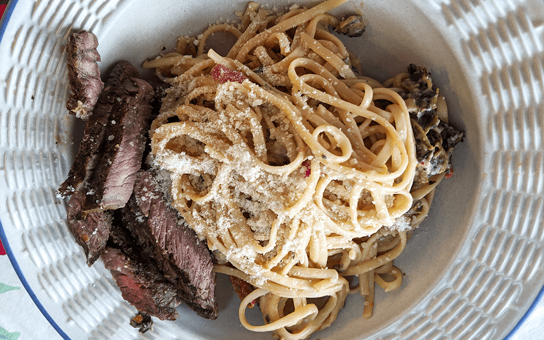 Grilled Steak with Creamy, Cheesy Pasta,Tomatoes & Mushrooms