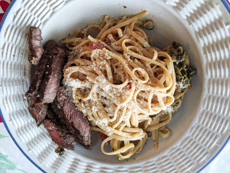 Steak with Creamy, Cheesy Pasta, Tomatoes & Mushrooms
